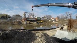 Nasunięcie przęsła mostu na rz. Pasłęce w Braniewie
