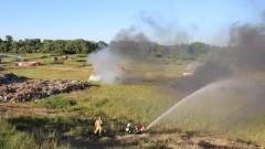 Strażacy ćwiczyli gaszenie pożaru na wysypisku