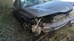 Dachowanie renault. Kierowca i pasażer nie odnieśli obrażeń