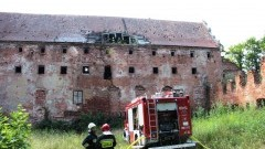 Pożar poddasza Zamku Kapituły Warmińskiej w Pieniężnie