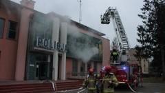 Pozorowany pożar komendy policji