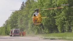 Wypadek pod Braniewem. Rannego rowerzystę zabrał śmigłowiec LPR