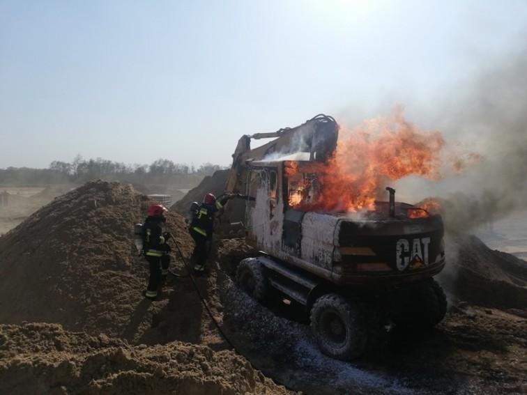 Pożar koparki