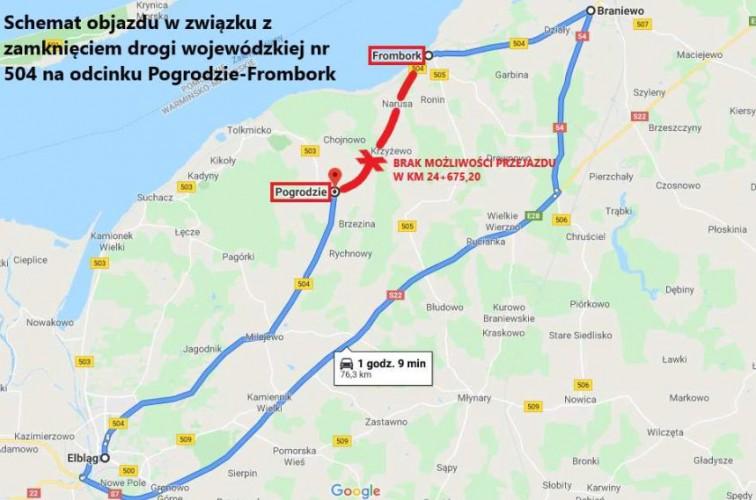 Droga 504 na odcinku Pogrodzie - Frombork zamknięta