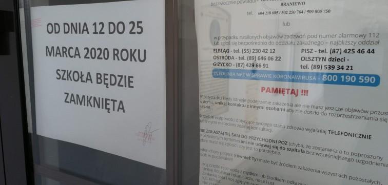 Braniewo: Zamknięte placówki oświatowe, odwołane zajęcia i imprezy