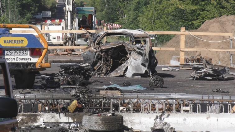 Koszmarny wypadek pod Fromborkiem. Kierowca spłonął w rozbitym aucie