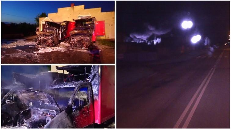 Nocny pożar na ul. Elbląskiej. Spłonęły dwa dostawczaki [wideo]