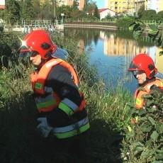 Dwie osoby w wodzie, nurkowie w akcji. Strażacy ćwiczyli na Pasłęce